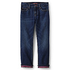 Lands' End - Boys' blue flannel-lined classic fit iron knee jeans