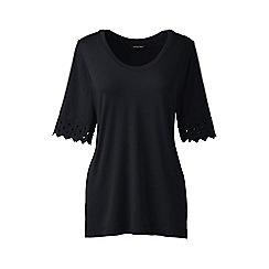 Lands' End - Black Plus Size elbow sleeve a-line top