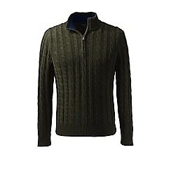 Lands' End - Green regular drifter cable zip neck sweater