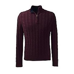 Lands' End - Purple regular drifter cable zip neck sweater