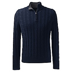 Lands' End - Blue regular drifter cable zip neck sweater