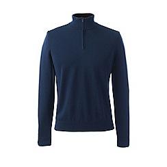 Lands' End - Blue fine gauge zip-neck jumper