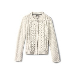 Lands' End - Girls' white chunky cable cardigan