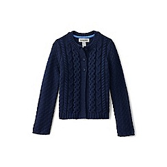 Lands' End - Girls' blue chunky cable cardigan