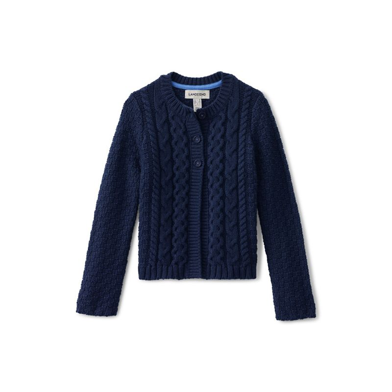 Lands End Girls blue chunky cable cardigan