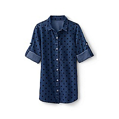 Lands' End - Blue girls' long sleeve chambray tunic shirt