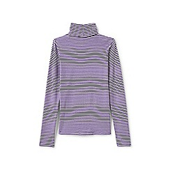 Lands' End - Girls' purple long sleeve print polo neck