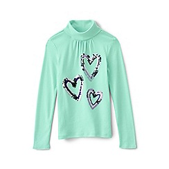 Lands' End - Green girls' long sleeve graphic polo neck
