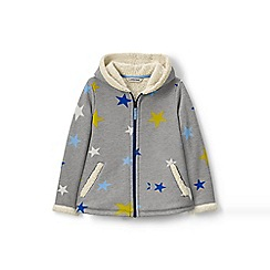 Lands' End - Girls' grey print a-line sherpa hoodie