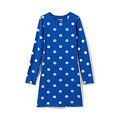Lands' End - Blue girls' long sleeve t-shirt dress