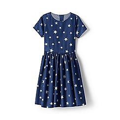 Lands' End - Blue girls' pattern chambray twirl dress