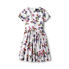 Lands' End - Girls' white sateen twirl dress