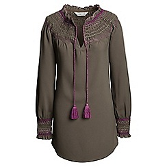 Lands' End - Brown daphne smocked tunic