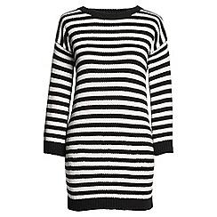 Lands' End - Black lofty cotton striped crew neck tunic