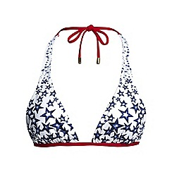 Lands' End - Cream star print triangle bikini top