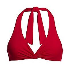 Lands' End - Red twist halterneck bikini top