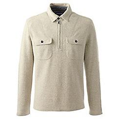 Lands' End - Beige regular brushed half-zip pullover