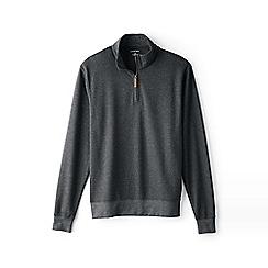 Lands' End - Grey supima jacquard half-zip pullover