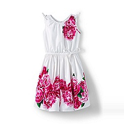 Lands' End - Pink girls' tie shoulder floral twirl dress