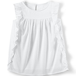 Lands' End - Girls' White woven flutter sleeve top