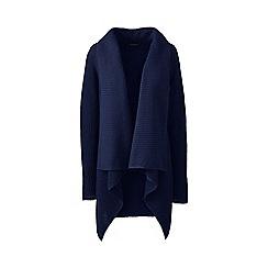 Lands' End - Blue Plus Size linen/cotton shaker cardigan