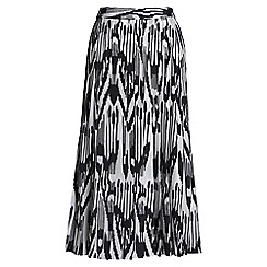 Lands' End - Black print pleated midi skirt