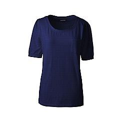 Lands' End - Blue elbow sleeve jacquard top