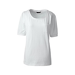 Lands' End - White elbow sleeve jacquard top