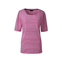 Lands' End - Pink elbow sleeve jacquard top
