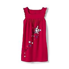 Lands' End - Girls' Red sleeveless ruffle shooting star legging top