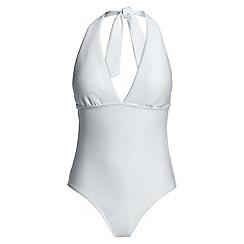 Lands' End - White white textured halterneck swimsuit