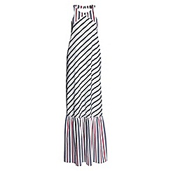 Lands' End - White cotton/silk striped maxi dress cover-up
