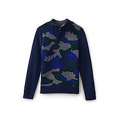 Lands' End - Blue boys' camo button sweater