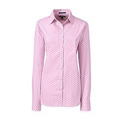 Lands' End - Pink regular supima patterned tailored non-iron shirt