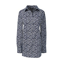 Lands' End - Blue regular patterned supima non-iron tunic