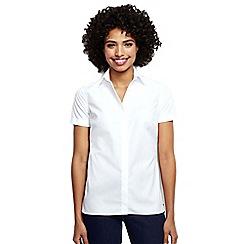 Lands' End - White regular short sleeved non-iron shirt