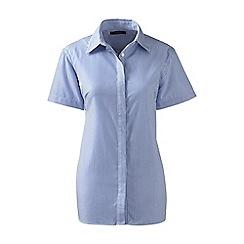 Lands' End - Blue regular patterned short sleeved non-iron shirt