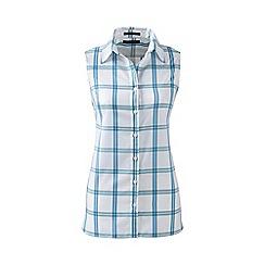 Lands' End - Blue regular sleeveless patterned non-iron shirt