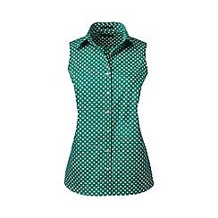 Lands' End - Green regular sleeveless patterned non-iron shirt