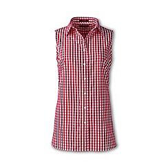 Lands' End - Red regular sleeveless patterned non-iron shirt
