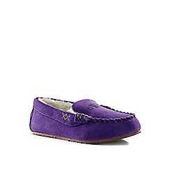 Lands' End - Blue suede moccasin slippers