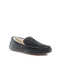Lands' End - Grey suede moccasin slippers
