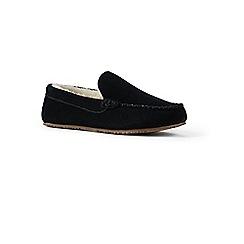 Lands' End - Black suede moccasin slippers