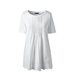 Lands' End - Plus Size White slub embroidered jersey tunic