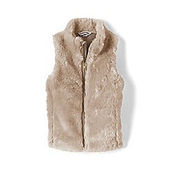 Lands' End - Beige girls' faux fur gilet