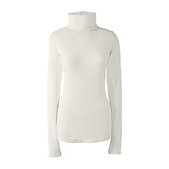 Lands' End - Cream thermaskin heat natural roll neck