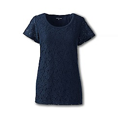 Lands' End - Blue petite lace front tee