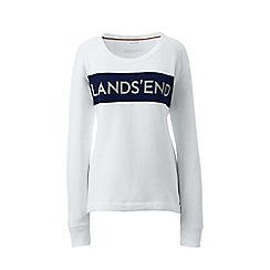 Lands' End - White signature chest stripe sweatshirt
