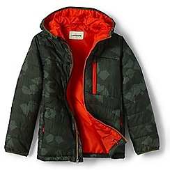 Lands' End - Boys' green packable patterned primaloft jacket