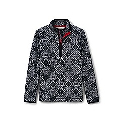 Lands' End - Girls' black patterned fleece half-zip pullover